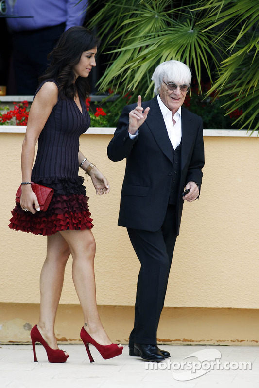 Bernie Ecclestone Ceo Formula One Group With Fiance Fabiana Flosi At The Amber Lounge Fashion