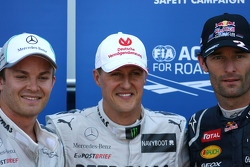 Michael Schumacher, Mercedes GP, Nico Rosberg, Mercedes GP and Mark Webber, Red Bull Racing
