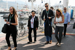 The German National football team visit the F1 paddock