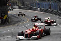 Fernando Alonso, Scuderia Ferrari leads team mate Felipe Massa, Scuderia Ferrari