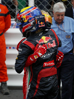 Race winner Mark Webber, Red Bull Racing celebrates with Fernando Alonso, Ferrari