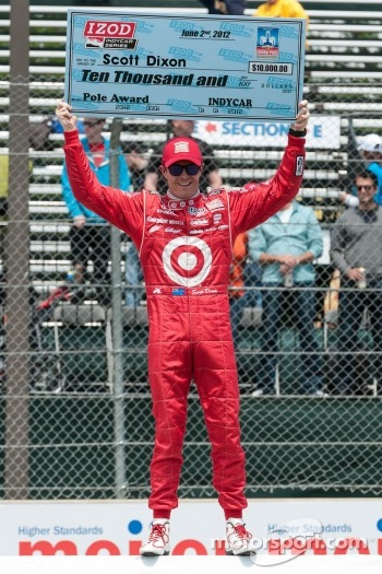 Scott Dixon, Target Chip Ganassi Honda celebrates pole position