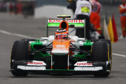 Nico Hulkenberg, Sahara Force India F1 running flow-vis paint