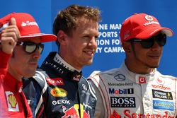 Fernando Alonso, Scuderia Ferrari, Sebastian Vettel, Red Bull Racing and Lewis Hamilton, McLaren Mercedes Mercedes