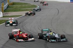Felipe Massa, Scuderia Ferrari and Nico Rosberg, Mercedes GP