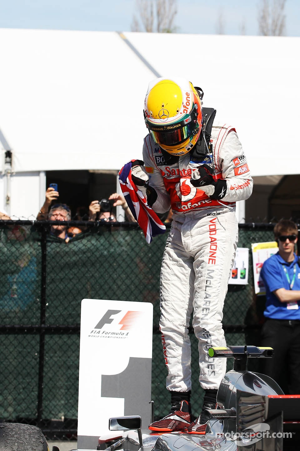 Race winner Lewis Hamilton, McLaren Mercedes celebrates in parc ferme