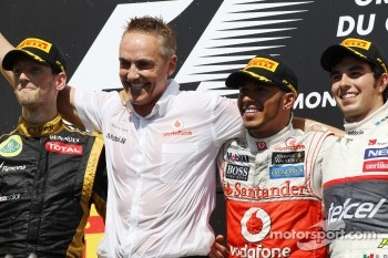 The podium, Lotus F1 Team, second; Martin Whitmarsh, McLaren Mercedes Chief Executive Officer; Lewis Hamilton, McLaren Mercedes, race winner; Sergio Perez, Sauber, third