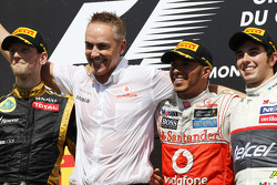 The podium, Lotus F1 Team, second; Martin Whitmarsh, McLaren Mercedes Chief Executive Officer; Lewis Hamilton, McLaren Mercedes, race winner; Sergio Perez, Sauber, third