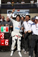 Sergio Perez, Sauber F1 Team celebrates his third position with the team