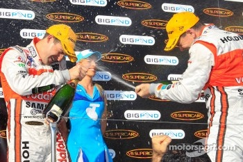 Podium: race winner Craig Lowndes, second place Jamie Whincup