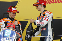 Podium: second place Casey Stoner, Repsol Honda Team, third place Dani Pedrosa, Repsol Honda Team