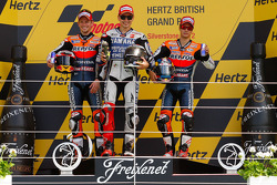 Podium: race winner Jorge Lorenzo, Yamaha Factory Racing, second place Casey Stoner, Repsol Honda Team, third place Dani Pedrosa, Repsol Honda Team