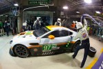 Pit stop for #97 Aston Martin Racing Aston Martin Vantage V8: Stefan Mcke, Adrian Fernandez, Darren Turner
