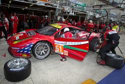 Pit stop for #61 AF Corse-Waltrip Ferrari F458 Italia: Robert Kauffman, Rui Aguas, Brian Vickers