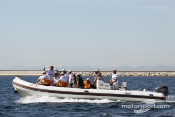 The Sahara Force India F1 Team drivers head out to a ride on the Aethra America's Cup Boat