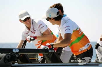 Nico Hulkenberg, Sahara Force India F1 and Jules Bianchi, Sahara Force India F1 Team Third Driver on the Aethra America's Cup Boat