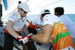 Nico Hulkenberg, Sahara Force India F1; Jules Bianchi, Sahara Force India F1 Team Third Driver and Paul di Resta, Sahara Force India F1 on the Aethra America's Cup Boat