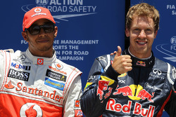 pole postion for Sebastian Vettel, Red Bull Racing with Lewis Hamilton, McLaren Mercedes in 2nd place
