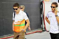 Paul di Resta, Sahara Force India F1 with Jenson Button, McLaren Mercedes