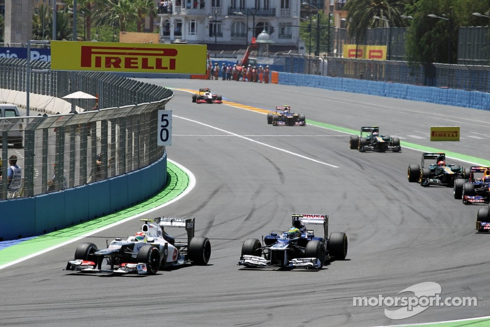 Sergio Perez, Sauber and Bruno Senna, Williams