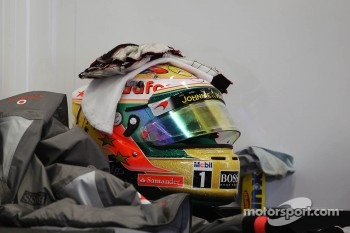 The helmet of Lewis Hamilton, McLaren