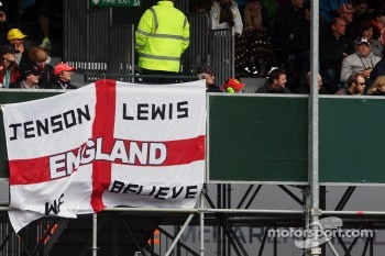 A flag for Jenson Button, McLaren