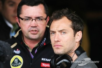 Jude Law, Actor with Eric Boullier, Lotus F1 Team Principal