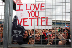 Fans and a banner for Sebastian Vettel, Red Bull Racing