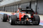 Rio Haryanto, Marussia F1 Team Test Driver leaves the pits with an aero measuring device