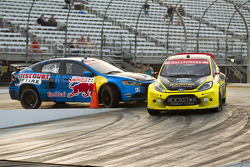 Tanner Foust and Travis Pastrana race for position