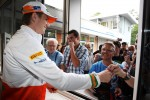 Nico Hulkenberg, Sahara Force India F1 signs autographs for the fans at the ticket office