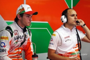 Jules Bianchi, Sahara Force India F1 Team Third Driver talks with Gianpiero Lambiase, Sahara Force India F1 Engineer