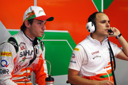 Jules Bianchi, Sahara Force India F1 Team Third Driver talks with Gianpiero Lambiase, Sahara Force India F1 Engineer