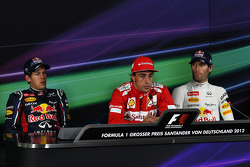 Qualifying top 3 FIA Press Conference, Sebastian Vettel, Red Bull Racing, second; Fernando Alonso, Scuderia Ferrari, pole position; Mark Webber, Red Bull Racing, third