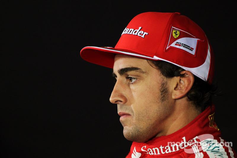 Pole sitter Fernando Alonso, Scuderia Ferrari in the FIA Press Conference