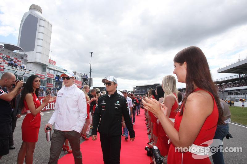 Nico Hulkenberg, Sahara Force India Formula One Team and Nico Rosberg, Mercedes GP