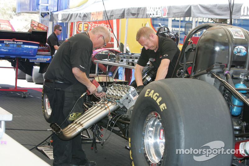Work on Johnny Gray's Funny Car