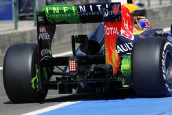 Flow-vis paint on the rear wing and diffuser of Mark Webber, Red Bull Racing
