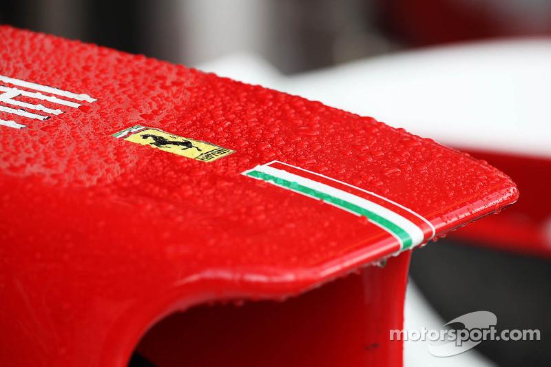 Rain drops on the Ferrari nosecone