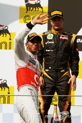 Podium: race winner Lewis Hamilton, McLaren Mercedes