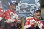 Podium: winner Sébastien Loeb, second place Mikko Hirvonen, Citroën Total World Rally Team