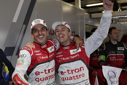 Benoit Tréluyer and Marcel Fässler celebrate the win