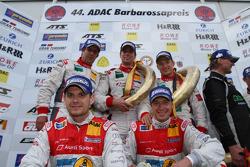 Podium: race winners Frank Biela, Christian Hohenadel, Thomas Mutsch, second place Marc Basseng, Frank Stippler