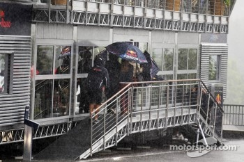 The Red Bull Energy Station during a heavy rain shower