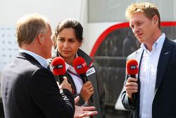 Johnny Herbert, with Monisha Kaltenborn, Sauber Managing Director and Simon Lazenby, Sky Sports F1 TV Presenter