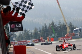 Matias Laine takes the checkered flag to win