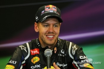 Second placed Sebastian Vettel, Red Bull Racing in the FIA Press Conference