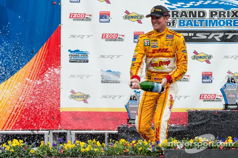 Race winner Ryan Hunter-Reay sprays champagne