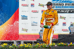 Race winner Ryan Hunter-Reay sprays champagne