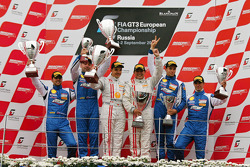 Podium: race winners Ni Amorim, Cesar Campanico, second place Aleksey Basov, Björn Grossman, third place Aleksandr Skryabin, Alessandro Pier Guidi